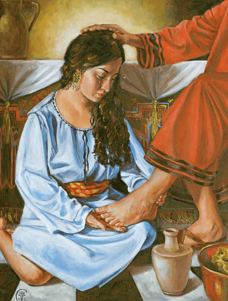 'Woman washing the feet of Jesus' a painting by Ann Marie Campbell - Pixels.com